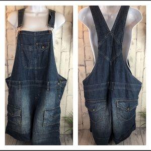 Motherhood jean shorts overalls large